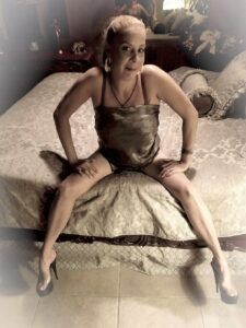 woman with legs open