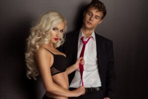 photo o young couple in sensual lingerie